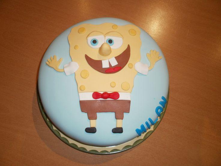 spongebob taart gevuld met slagroom en frambozen