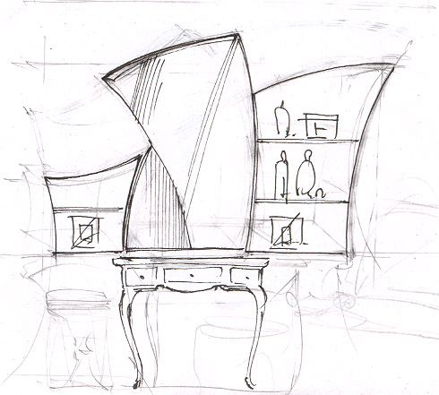 Эскиз будуарного столика#дизайн спальни#интерьер спальни#дизайн интерьера квартиры#дизайн-проект интерьера#дизайн интерьера в классическом стиле#эскизы интерьеров от руки#