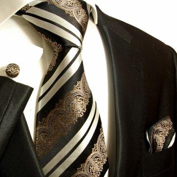 Bronze, Black and White Paul Malone Silk Tie Set (516CH)