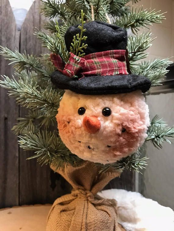 SNOWMAN ornament top hat carrot nose furry plush snowman