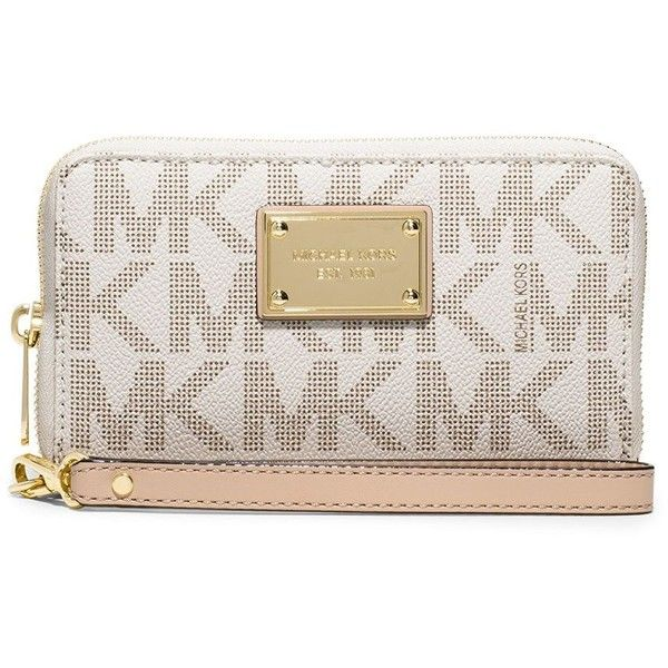 Michael Michael Kors Jet Set Convertible Leather Smartphone Wristlet (€96) ❤ liked on Polyvore featuring accessories, tech accessories, vanilla, smartphone wristlet, leather wristlet, wristlet smartphone, smart phone wristlet and leather smartphone wristlet