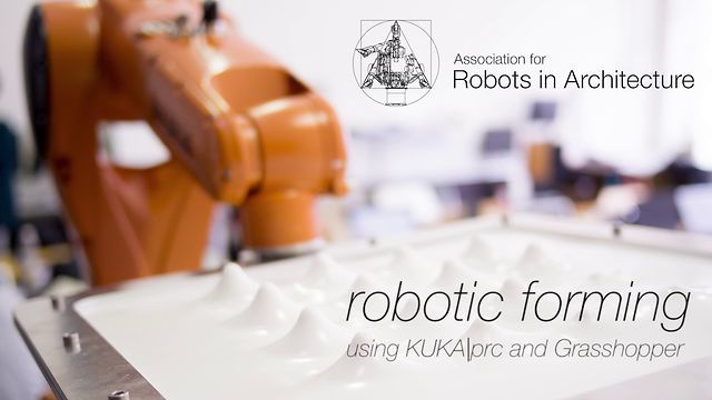 A KUKA Agilus robot is used to locally heat up plastic sheets and then to form them over a modular tool. The robot programming was done in KUKA|prc, while the physics simulation coupled KUKA|prc with Kangaroo.