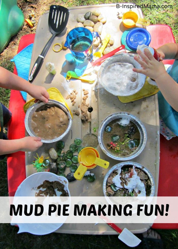 Kids Mud Pie Making Messy Playdate - A Fun Idea for Summer Outdoor Play or Even for a Kids Birthday Party!  B-Inspired Mama