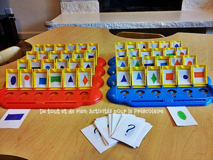 De tout et de rien: Activités pour le Préscolaire: Recycler le jeu Devine qui? Explorer les formes géométriques au Préscolaire