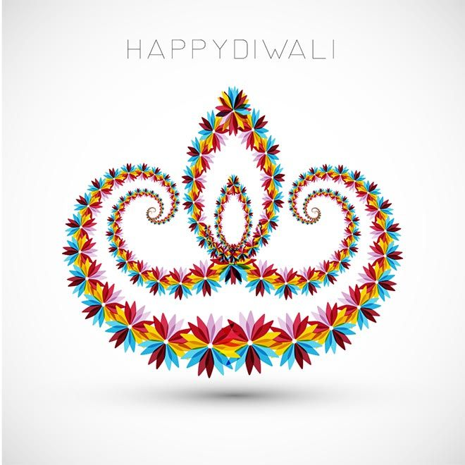 Free Vector beautiful artistic happy Diwali Flower art pattern logo design for Diwali festival (Festival of lights) celebration