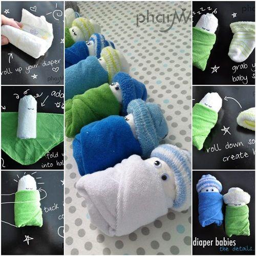 DIY Cute Diaper Babies for Baby Shower