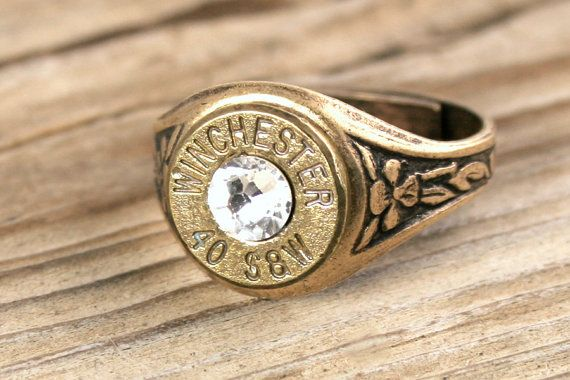 40 Caliber Antiqued Brass Adjustable Bullet Ring by BulletDesigns, $19.95