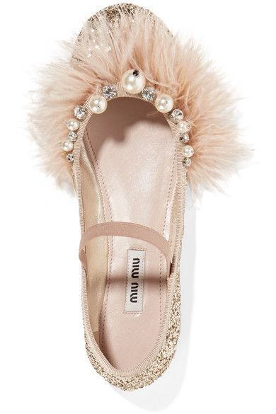 Miu Miu - Faux Pearl, Crystal And Feather-embellished Glittered Leather Ballet Flats - Pink - IT35.5
