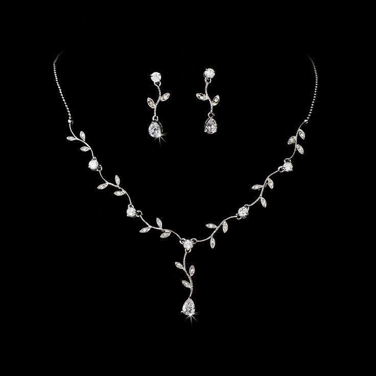 Silver Cubic Zirconia Vine Bridal Jewelry Set