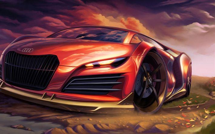 Download wallpapers art, Audi R8, creative, 3d, Audi