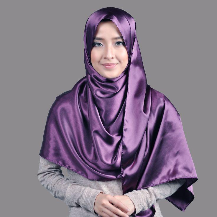 Basic Plain Wide Satin Silk Shawl in Purple (Free Hijab Pin!) - BAJUFOUNDRY