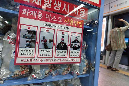 Masques à gaz, métro Séoul
