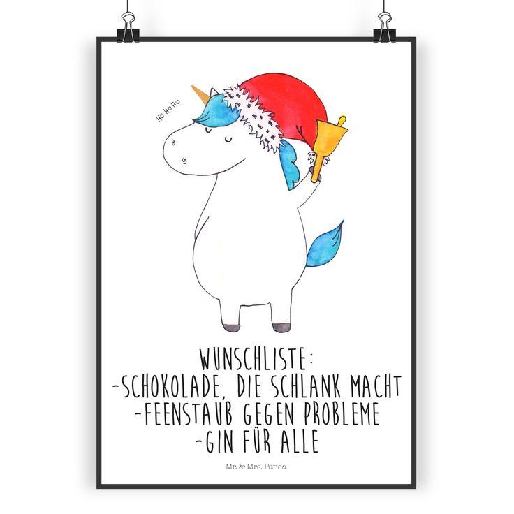 Poster DIN A4 Einhorn Weihnachtsmann aus Papier 160 Gramm  weiß - Das Original von Mr. & Mrs. Panda.  Jedes wunderschöne Poster aus dem Hause Mr. & Mrs. Panda ist mit Liebe handgezeichnet und entworfen. Wir liefern es sicher und schnell im Format DIN A4 zu dir nach Hause.    Über unser Motiv Einhorn Weihnachtsmann  Das Weihnachtsmann-Einhorn ist viel besser als jeder aufwendig gestaltete Wunschzettel. Einfach dem Partner oder Freunden schenken und schon kennen sie die wichtigsten Wünsche…