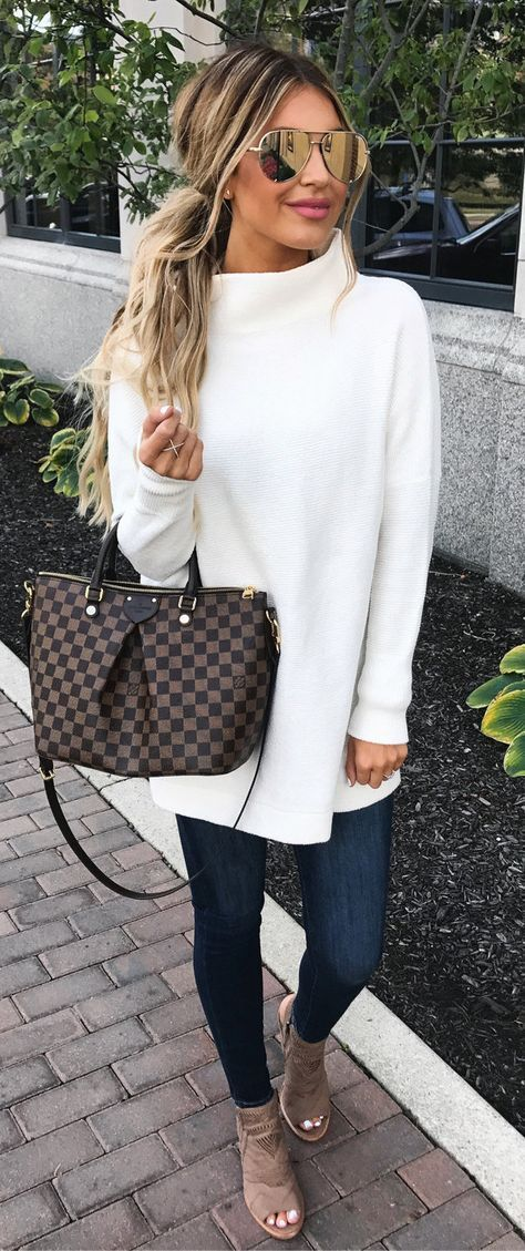 #fall #outfits women's white sweater, blue jeans, and brown heels