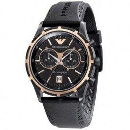 Emporio Armani Quartz, Black Dial with Black Rubber Strap Band - Men's Watch AR0584