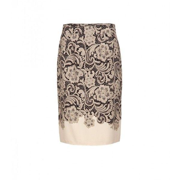 Dolce & Gabbana Cream & Black Viscose Lace Print Pencil Skirt (12 955 ZAR) ❤ liked on Polyvore featuring skirts, rayon skirt, black knee length skirt, print pencil skirt, print skirt and dolce&gabbana