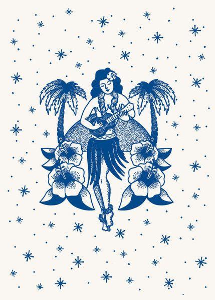 Kitsch Kitchen | Poster Tattoo Hula Girl | Posters and Wall Decor- Bellakoola – bellakoola - Cool Design & Lifestyle Shop