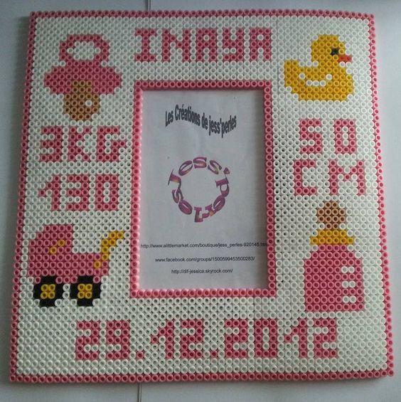 Birth date photo frame hama perler beads by jess-perles: