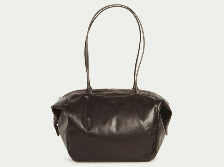 Folded Corners Leather Handbag by m0851 - designed and made in Montreal Canada.