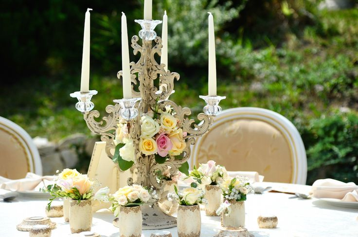 Victorian Glamour Wedding Decor - Gold & Ivory - Elegant, Antique, Vintage, Handpainted, Handmade -Table Setting, Candelabra, Candle Holder - by Satori Art & Event Design