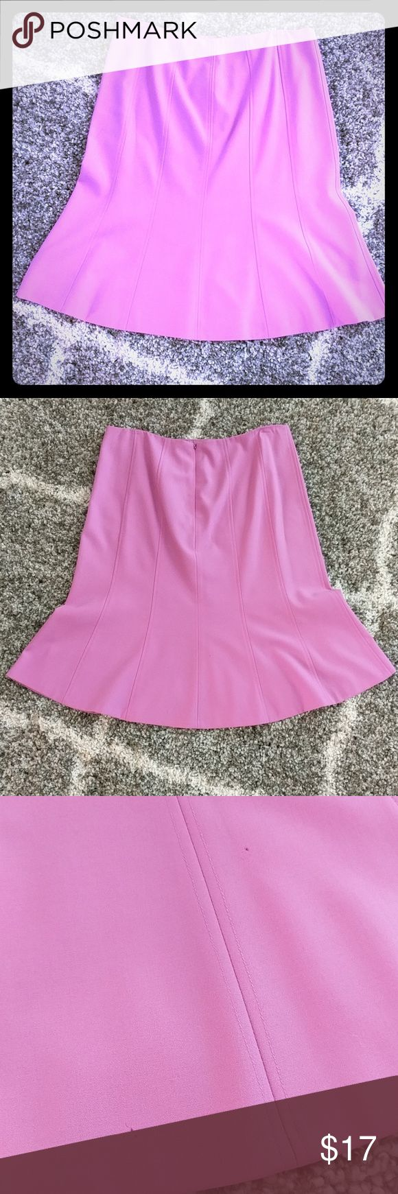 Ann Taylor Pink Trumpet Skirt You'll find yourself wanting to swing your hips in this playful, pink trumpet skirt from Ann Taylor.  Two very small pin holes in very back of skirt reflected in price. Ann Taylor Skirts A-Line or Full