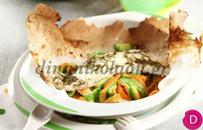 Ψαράκι στο χαρτί με ταλιατέλες λαχανικών | Dina Nikolaou