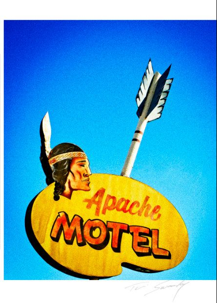 Rustic Apache Motel Yellow vintage by SwankyPhotographic on Etsy