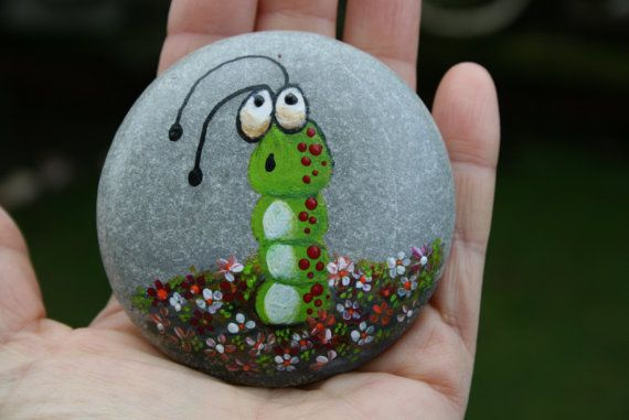 Nº28 painted pebble hand painted stone painted rock by LOSESTONES
