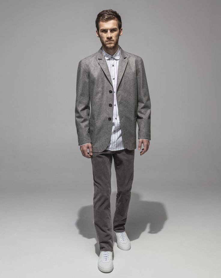 1/2 Lined Paper Touch Felted Wool Jacket (Grey Marle) Japanese Crushed Poplin Club Collar Shirt (Grey Stripe) 16 Wale Cord Slim Fit Stretch (Cement)