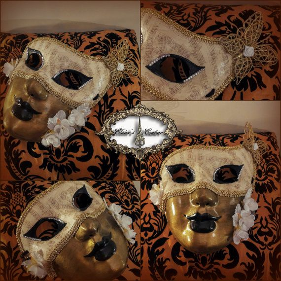 White and gold Venetian mask with some black details and covered with vintage looking music paper. Totally hand-painted. The mask is beautifully