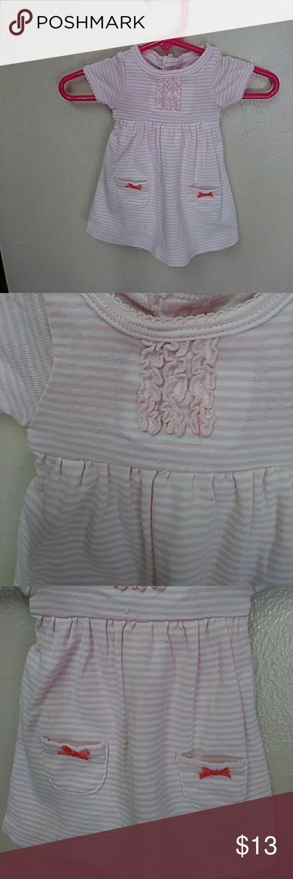 Carter's baby girl 1 piece bodysuit romper sz NB Infant baby girls 1 piece onesie sleeper romper jumpsuit.  Short sleeves,  round neck, pink and white striping throughout with 2 snaps at the neck and 3 snaps at crotch with built in diaper.  Cute front piece pockets and pink ribbon bows and ruffled front. 1 piece for sale only. Carter's One Pieces Bodysuits