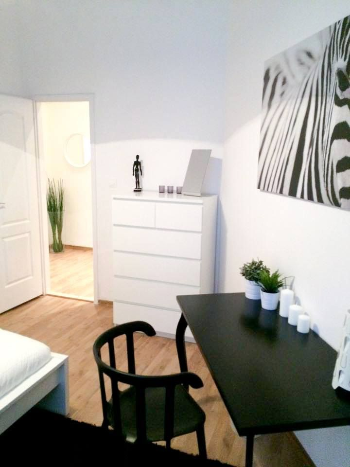 Zebra room ! #Ikea #H&MHome #white #chest #black #rug #working #desk #nice #chair #wall #picture #modernity #black #white #nice #home #design #BudapestImmobilier
