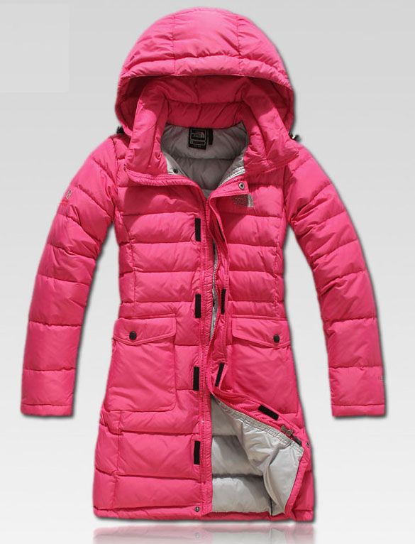 Ladies you need a long coat to go over your backside, its too cold to be looking cute with those little coats on. The North Face Women Hooded Pink Long Goose Down Coat