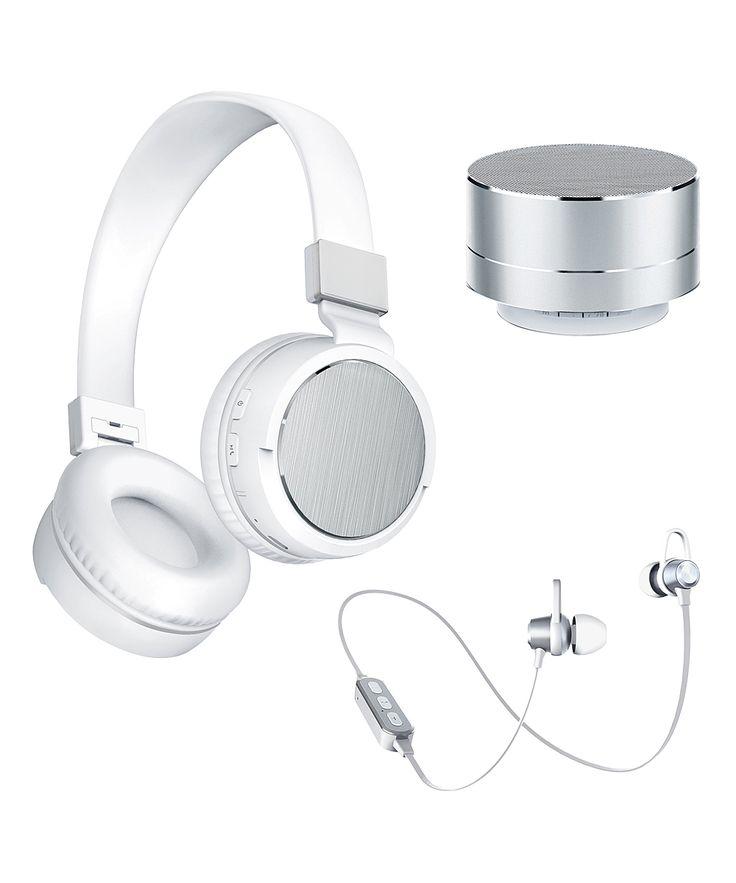 Silver 3-Pc. Speaker & Headphone Set