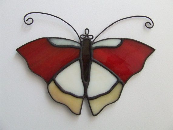 Butterfly stained glass decoration by Dorothystainedglass on Etsy