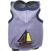 The Ruff Ruff Couture® Nantucket Hoodie is the perfect look for your  All-American doggie. Made from soft & stretchy french terry denim  and trimmed in navy blue, this hoodie features a hand-embroidered  sailboat. Proudly made in the U.S.A.