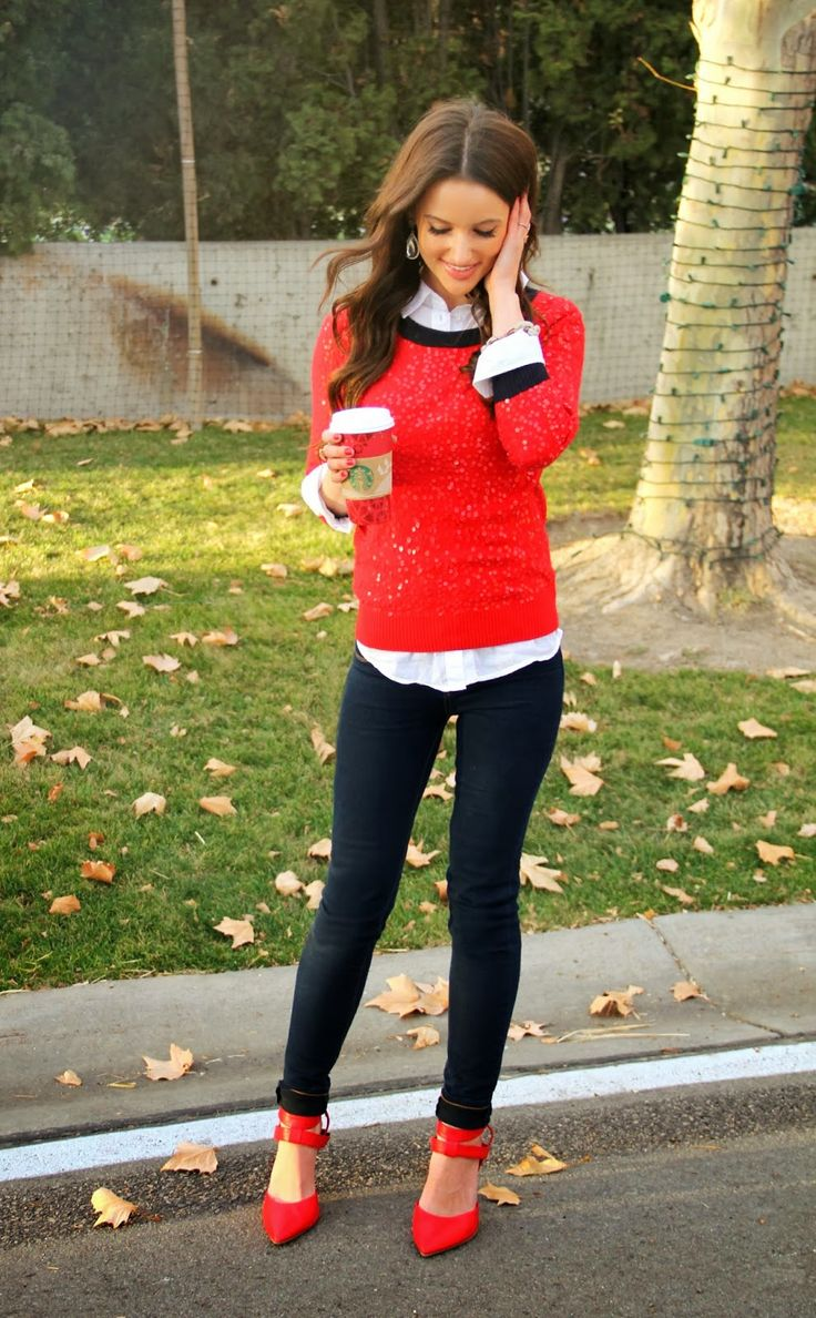 Love this outfit!  Red sweater layered over a white shirt, skinny jeans and pumps!  Women street style fashion