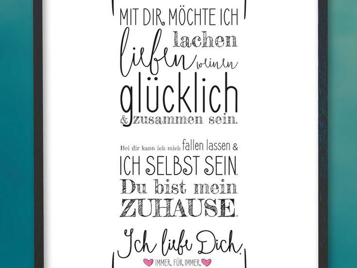 A4 Kunstdruck ♥ Ich liebe Dich ♥ für Verliebte von Brückli - herzliebehochzwei auf DaWanda.com