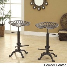 Bring a touch of the country to your counter or bar with this metal farm stool. The stool features a tractor-style seat that can be raised to 33 inches and is created with an industrial design for the height-adjustment handle and feet.