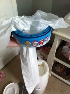 DIY Diaper Genie refills using normal trash bags... Those refills are so expensive!