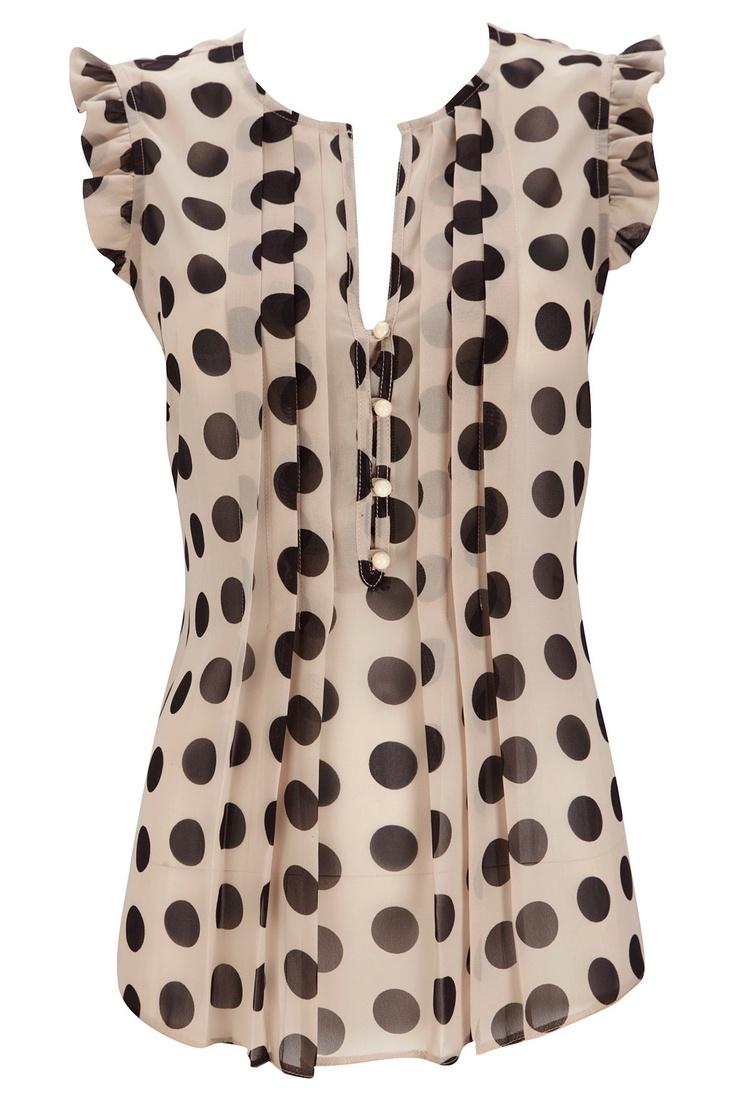 Way cute polka dot frill top found on wallisFashion.com