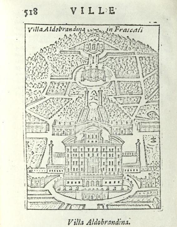 """Frascati (Roma) - Villa Aldobrandina -  da """"Ritratto di Roma moderna..."""" di Pompilio Totti - Roma, 1638"""