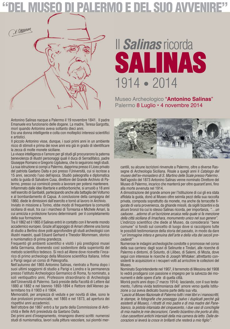 """Pieghevole #mostra """"Del #Museo di #Palermo e del suo avvenire"""" - Il Salinas ricorda SALINAS 1914-2014 #museosalinas"""