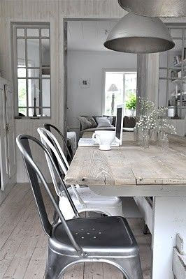 Kitchen | Dining Table | White | Silver | Chairs | Rustic | Shabby Chic