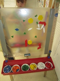 Easel  covered with contact paper and secured with duct tape. Cups of pattern blocks on one side and cups of colored yarn on the other.  Children create art on the sticky surfaces.