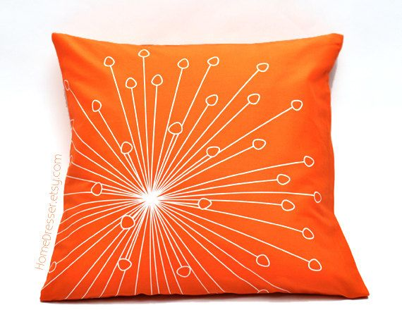 Happy+dandelion+flower+pillow+18x18+orange+design+by+HomeDresser,+$28.00