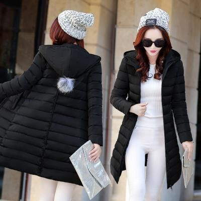 2018 Winter Jackets Women Fashion Down Cotton Parkas Casual Hooded Outerwear Zipper Cotton Slim Plus Size X Parkas Lady Top Blac