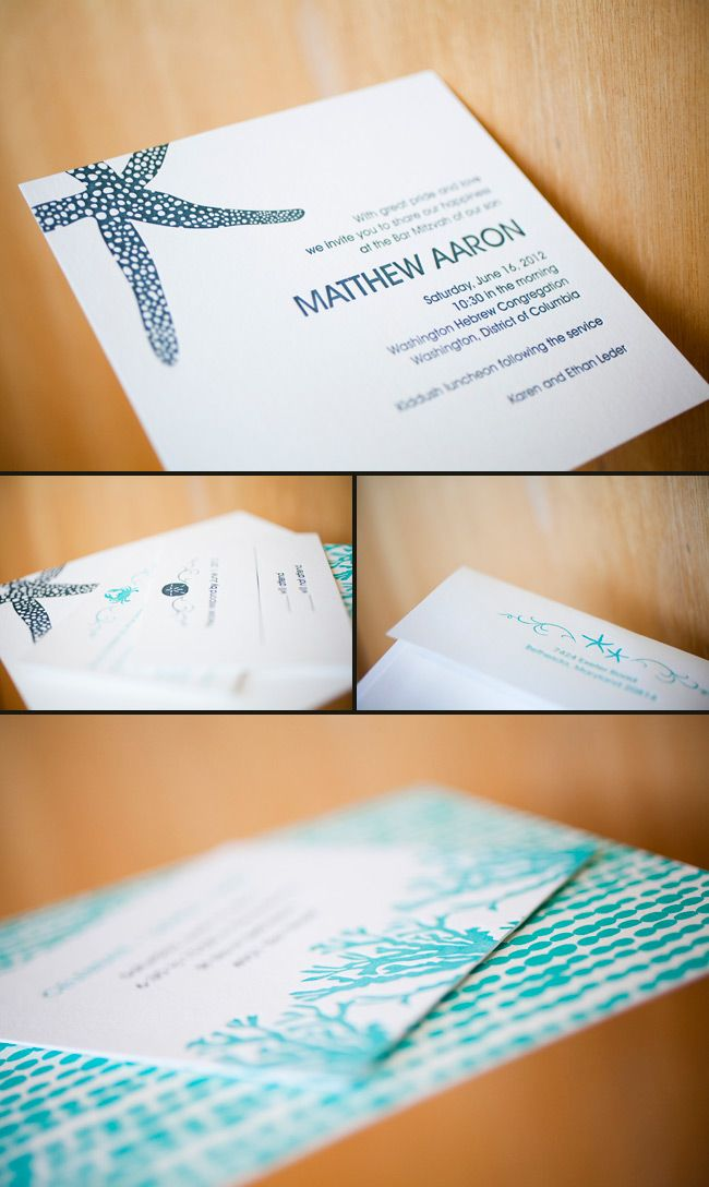 Ocean-inspired Bar Mitzvah invitations featuring the Smock Walsh Design