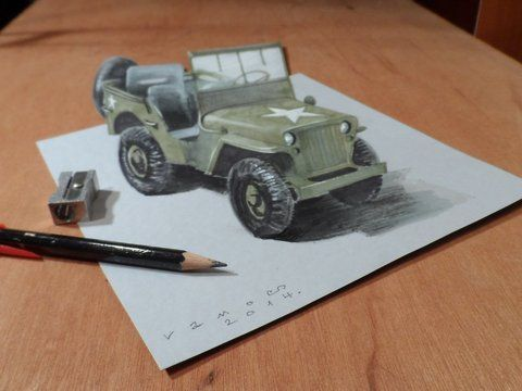 """How to draw a realistic Willis MB Jeep. Trick art on paper. Optical Illusion. Mixed media.<br />Materials used: <br />Pastell paper: light gray.  <br />H graphit pencil (Derwent) <br />Markers: Letraset PROMARKER <br />Black and white charcoal pencil.<br />White gel pen.<br />Grey Stabilo marker 0,4.<br />Black Faber - Castell pen 0,7. <br />Soft eraser.<br />Music: <br />Ryde of the Walkyries (by Wagner) - Wagner.<br />For sale: <a href=""""http://vamosart.deviantart.com/gallery/""""…"""