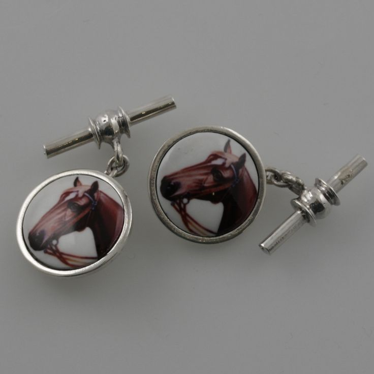Vintage style sterling silver cufflinks with a dark bay racing horse by Sky with Diamonds | Sky with Diamonds